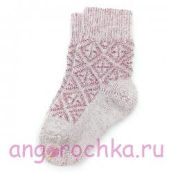 Детские шерстяные носки с красным орнаментом