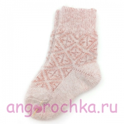 Детские шерстяные носки с розовым орнаментом