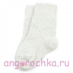Белые детские шерстяные носочки с орнаментом