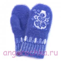 Детские ярко-синие шерстяные варежки со снеговиком
