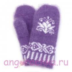 Детские фиолетовые шерстяные варежки с цветочком