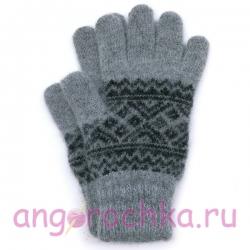 Мужские вязаные перчатки с черным орнаментом