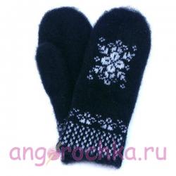 Черные шерстяные варежки со снежинкой