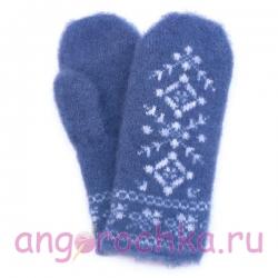 Синие шерстяные варежки с зимним орнаментом