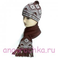 Вязаный шерстяной комплект - шапка и шарф
