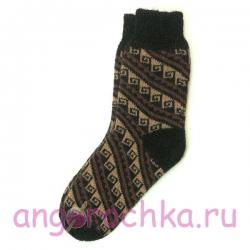 Темные шерстяные носки с орнаментом