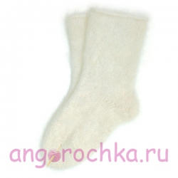 Белые мужские пуховые шерстяные носки