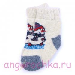 Детские безразмерные шерстяные носочки со снеговиком