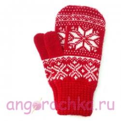Красные шерстяные варежки с рисунком и белой снежинкой