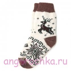 Белые шерстяные носки с оленем и снежинкой