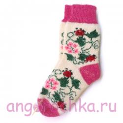 Белые шерстяные носки с модным цветочным рисунком