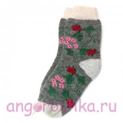 Серые шерстяные носки с ярким цветочным рисунком