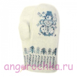Белые детские  шерстяные варежки со снеговиком
