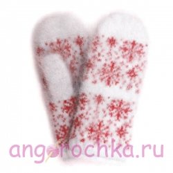 Белые пуховые варежки со снежинками