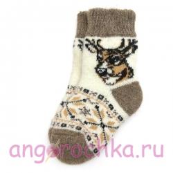 Детские безразмерные шерстяные носки с оленем