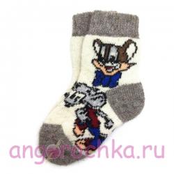 Детские безразмерные шерстяные носки с Леопольдом