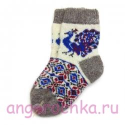Детские безразмерные шерстяные носки с павлином