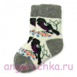 Детские безразмерные шерстяные носки с птичками