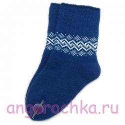 Синие шерстяные носки с орнаментом