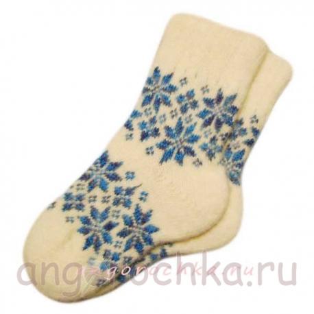 Женские шерстяные носки с рисунком-снежинкой