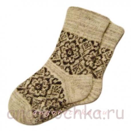 Женские вязаные шерстяные носки с рисунком