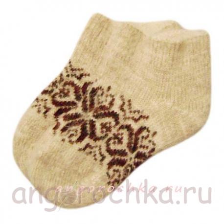 Короткие вязаные женские шерстяные носки с орнаментом