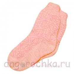 Бесшовные женские розовые вязаные носки с резинкой