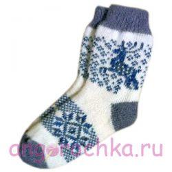 Женские  шерстяные носки с синими олеями