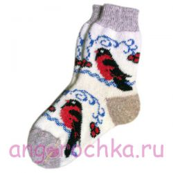 Женские  шерстяные носки со снегирями