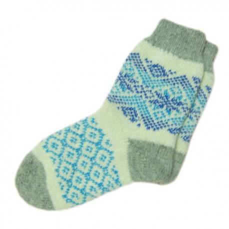 Женские  шерстяные вязаные носки с голубым орнаментом