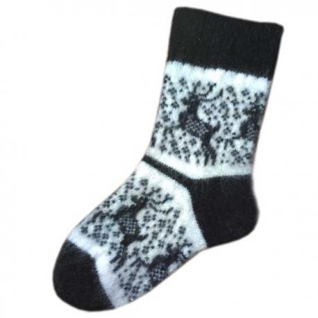 Женские  шерстяные вязаные носки с рисунком- олень
