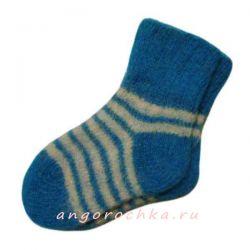 Детские вязаные шерстяные носки c белыми полосками.