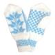 Белые варежки ручной работы с голубым узором