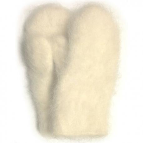 Женские белые пуховые варежки