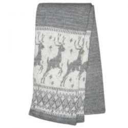 Серый вязаный шерстяной шарф с оленями