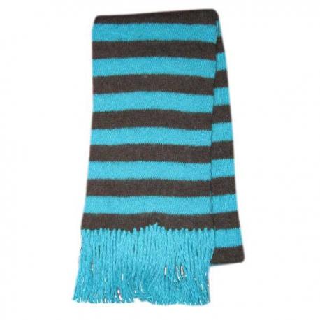 Полосатый вязаный шерстяной шарф с кисточками