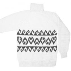 Белый вязаный шерстяной свитер сорнаментом