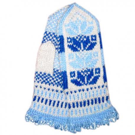 Варежки ручной вязки с  голубым и синим рисунком
