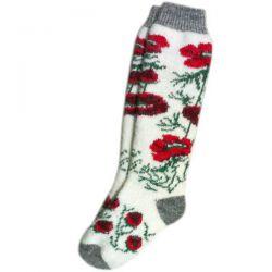 Женские вязаные шерстяные гольфы с красными цветками