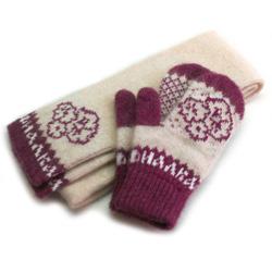 вязаный шерстяной комплект шарф и варежки с логотипом