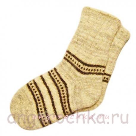 Шерстяные вязаные носки в полоску