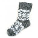 Теплые детские шерстяные носки с белым орнаментом