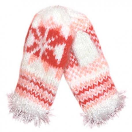 Вязаные детские шерстяные варежки с орнаментом-снежинкой