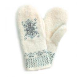 Белые шерстяные варежки со снежинкой