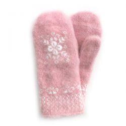 Розовые шерстяные варежки со снежинкой
