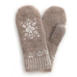 Коричневые шерстяные варежки со снежинкой