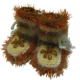 Детские вязаные пинетки в коричневом цвете