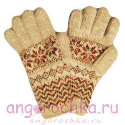 Теплые шерстяные перчатки с орнаментом
