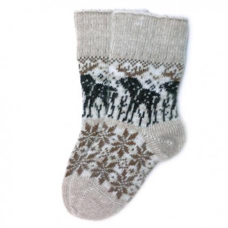 Бежевые шерстяные носки с оленями