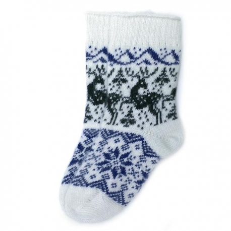 Белые шерстяные носки с оленями